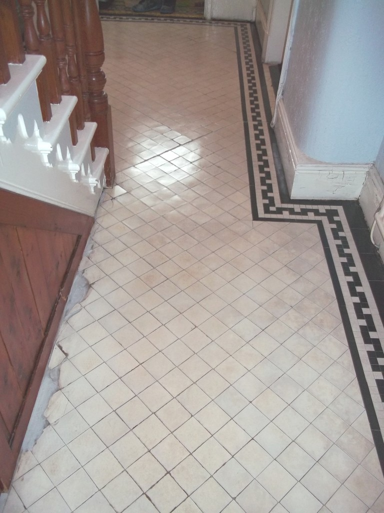 Old victorian tiled floor after cleaning in Newquay